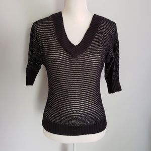 Express black and metallic silver sweater shirt xs